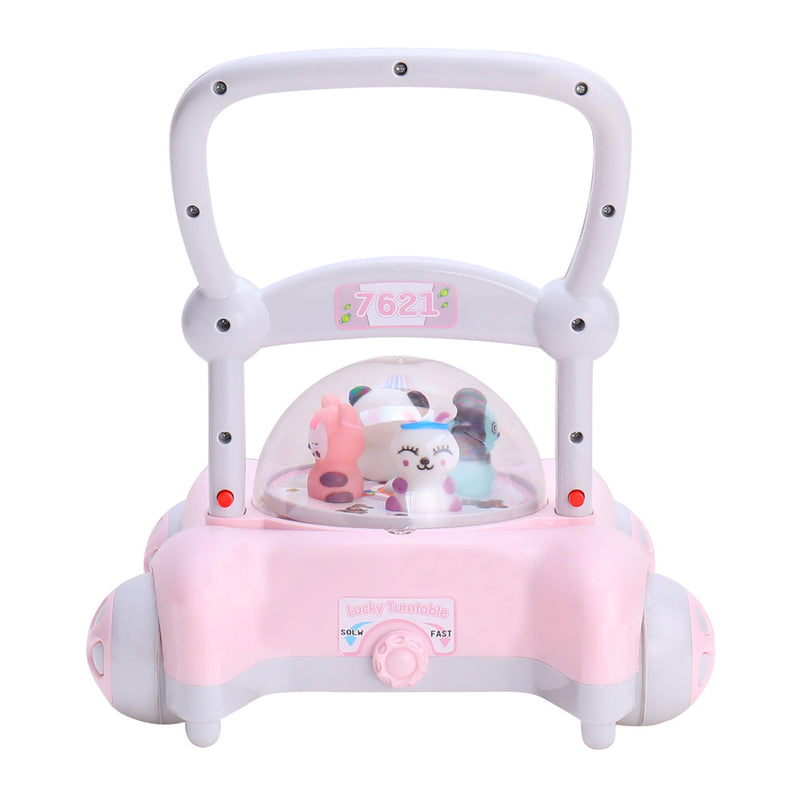 RICCO Baby Sit to Stand Push Along Walker with Rotating Cartoon Characters for 1+ Year Olds ( Model ZX7621) PINK