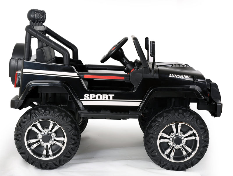 RICCO® S2388 4x4 Kids Electric Ride On Car with Remote Control LED Lights and Music (Black)