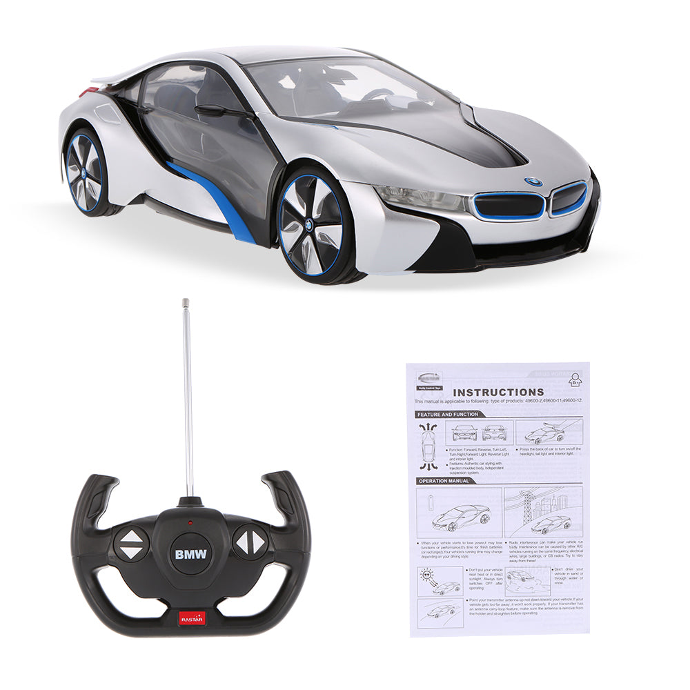 (PACK OF 6)  RASTAR RC49600-11 Genuine Licensed 1: 14 RC BMW I8 Concept Radio Remote Control Car Silver