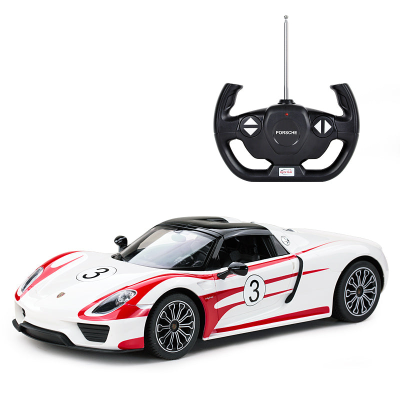 (PACK OF 6)  RASTAR WHITE RC70710 Genuine Licensed 1: 14 RC Porsche 918 Spyder Weissach Performance Radio Remote Control Car