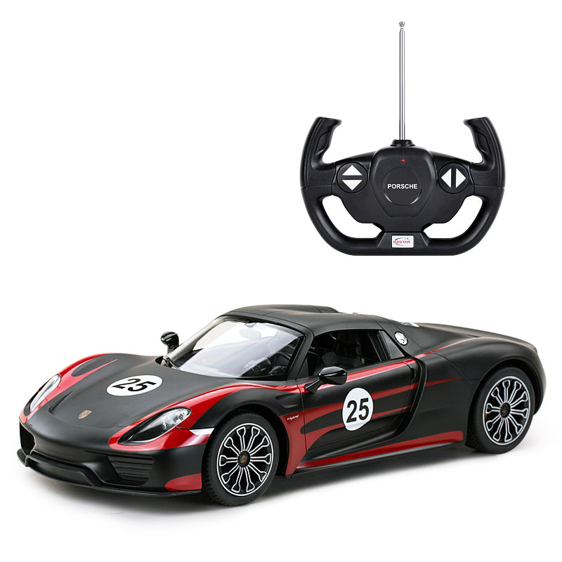 (PACK OF 6)  RASTAR RC BLACK RC70710 Genuine Licensed 1: 14 RC Porsche 918 Spyder Weissach Performance Radio Remote Control Car