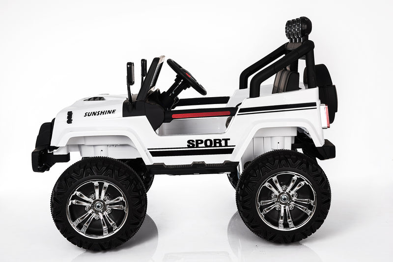 S2388 4x4 Kids Electric Ride On Car with Remote Control LED Lights and Music WHITE
