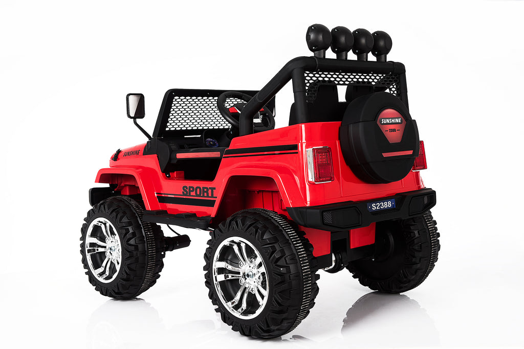 S2388 4x4 Kids Electric Ride On Car with Remote Control LED Lights and Music RED