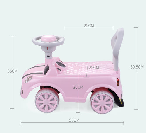 RICCO® Foot to Floor Push Along Ride On Vehicle (Model: ZX6551) (Pink)