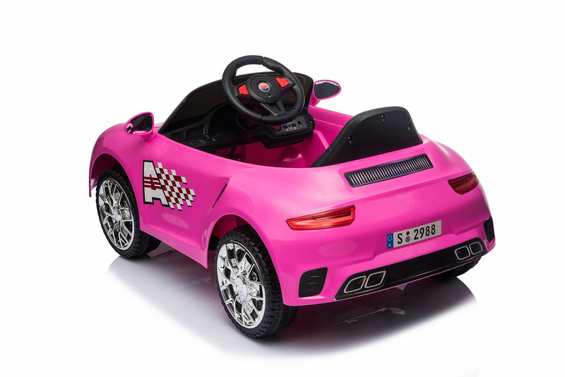 Kids 2x6V 15W TWO MOTORS Battery Powered Boxster Style Electric Ride On Sports Coupe Toy Car (Model: S2988) WHITE