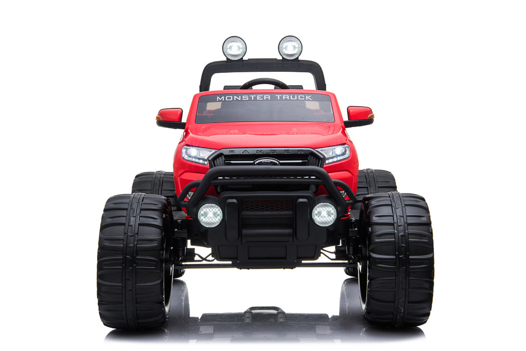RED 12V 10A Ford Ranger Licenced Monster Truck 4 Motors Kids Electric Ride on Car with Metallic Paint EVA Wheels and Leather Seats (MT550 Premium Version)