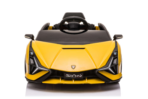 RICCO® 12V Lamborghini SIAN Licensed Battery Powered Kids Electric Ride On Toy Car (Model: QR6388) (Yellow)
