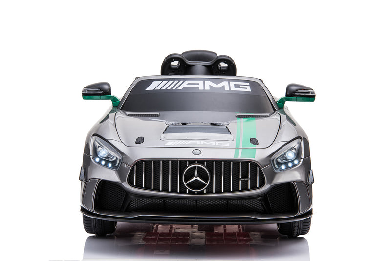 Mercedes Benz GT4 AMG SPORTS EDITION 12V 7A Two Motors Licenced Battery Powered Kids Electric Ride On Toy Car (Model: SX1918) SILVER