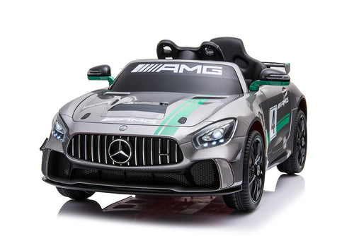 RICCO® Mercedes Benz GT4 AMG SPORTS EDITION Two Motors Licenced Battery Powered Kids Electric Ride On Toy Car (Model: SX1918) (Silver)
