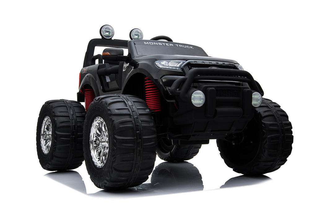 BLACK 12V 10A Ford Ranger Licenced Monster Truck 4 Motors Kids Electric Ride on Car with Metallic Paint EVA Wheels and Leather Seats (MT550 Premium Version)