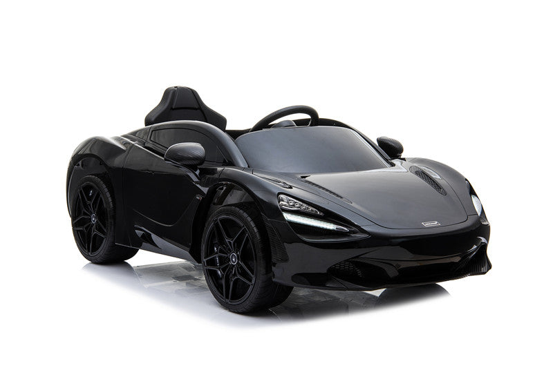 McLaren 720S Lisenced 12V Battery Powered Kids Electric Ride On Toy Car EVA Wheels Leather Seats (Model: M720S) Onyx BLACK