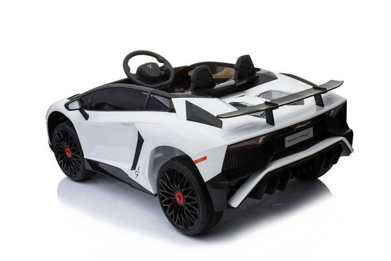 12V 7A Lamborghini Aventador SV Licensed Battery Powered Kids Electric Ride On Toy Car BDM0913 WHITE