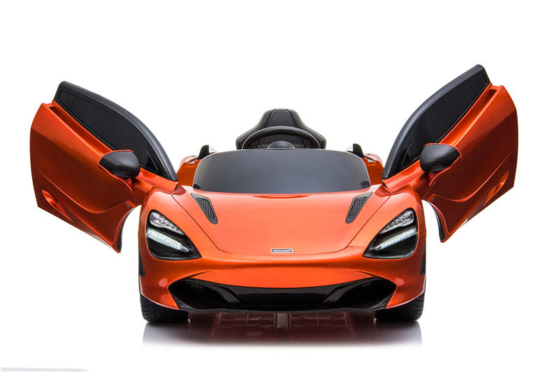 McLaren 720S Spider Lisenced 12V Battery Powered Kids Electric Ride On Toy Car EVA Wheels Leather Seats (Model: M720S) Azores Orange