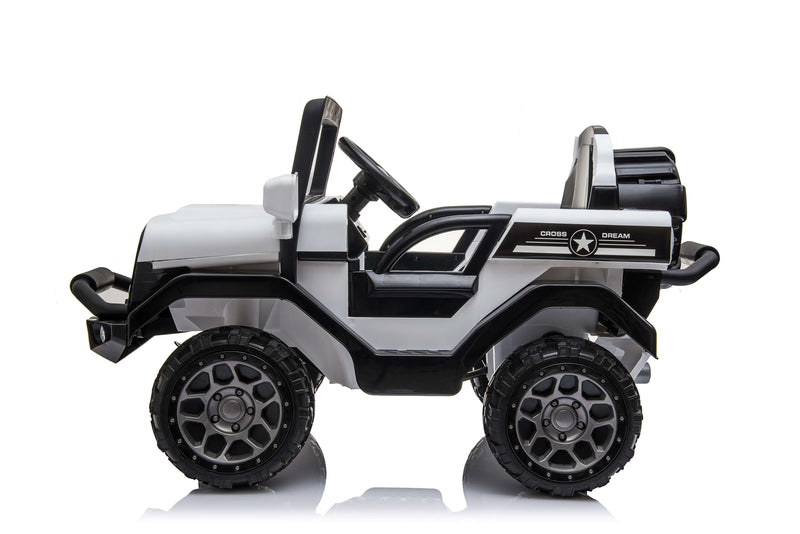 RICCO® Kids 4X4 Electric Ride On Car with Remote Control LED Lights and Music (White)