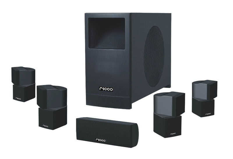 TS3304 5.1 Channel Home Theater Audio Speaker System Four Satellite, Center Channel and 10-Inch 200W RMS Passive Subwoofer