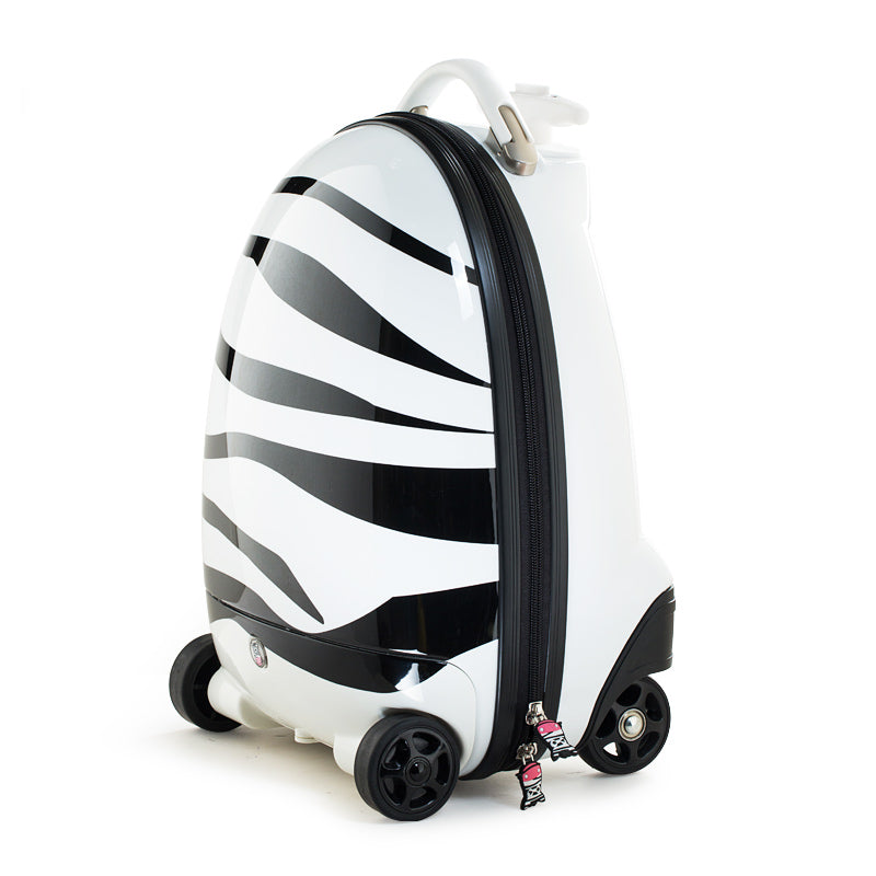 Kids Battery Powered Remote Control Walking Suitcase Cabin Hand Luggage (ZEBRA) RST1602