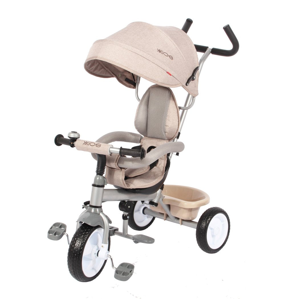 Kids Easy Steer Pedal Tricycle Buggy Stroller with Oxford Cloth (Model XG18859) - CREAM