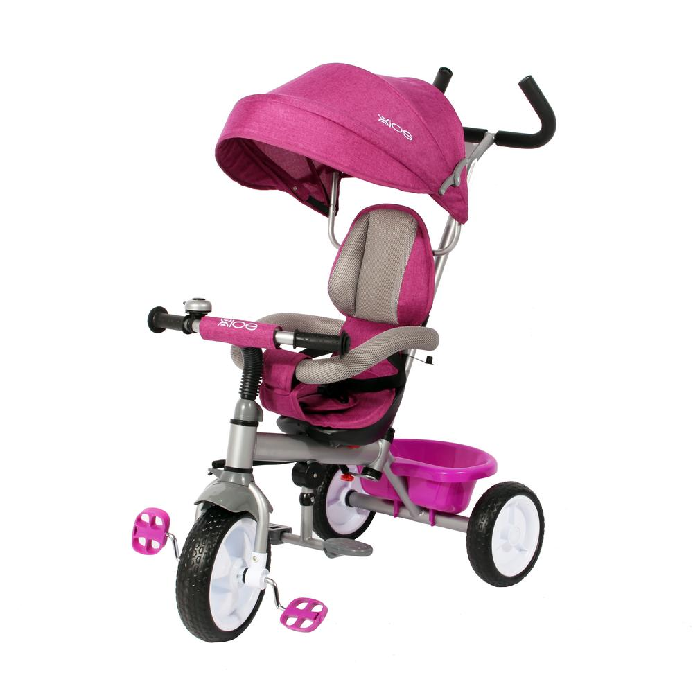 Kids Easy Steer Pedal Tricycle Buggy Stroller with Oxford Cloth (Model XG18859) - MAGENTA