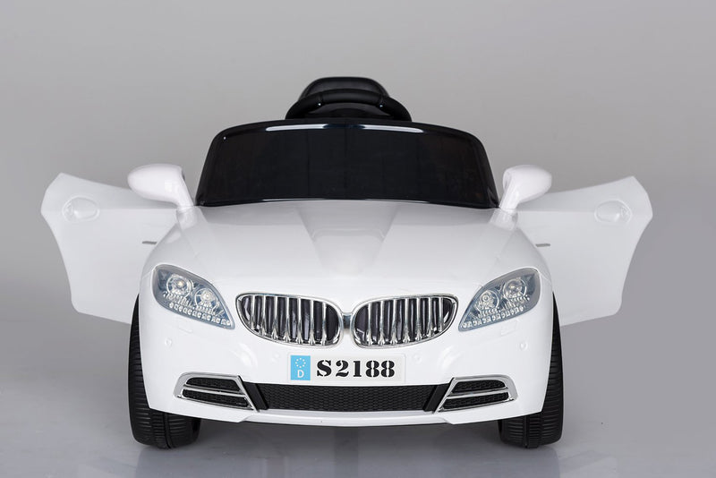 Kids 2x6V 15W TWO MOTORS Battery Powered BMW Style Electric Ride On Toy Car (Model: S2188) WHITE