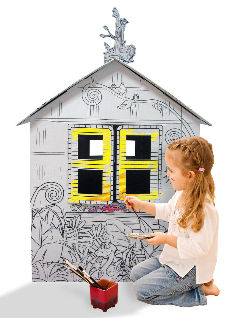 Ricco Kids 3D Cardboard Playhouse for Craft Colouring and Pretended Play (Little Jungle House)