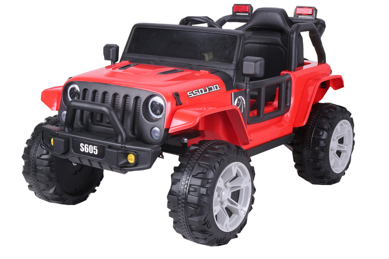 RICCO® SR605 Kids 4X4 Electric Ride On Car with Remote Control LED Lights and Music (Red)