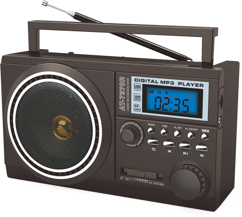 Portable 8 Band Radio FM MW SW 1-6 SD USB MP3 Input (Model: R7370)