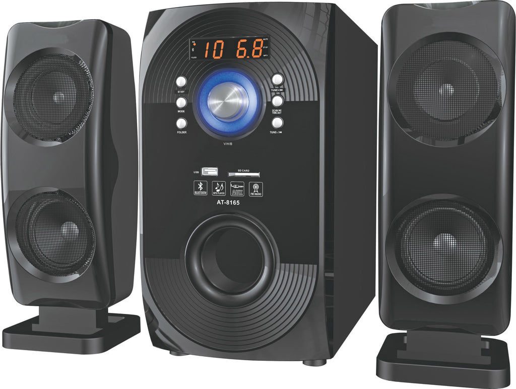 2.1 Channel Bluetooth Speaker 60W RMS AUX FM SD USB Input Remote Control (Model: T8165)