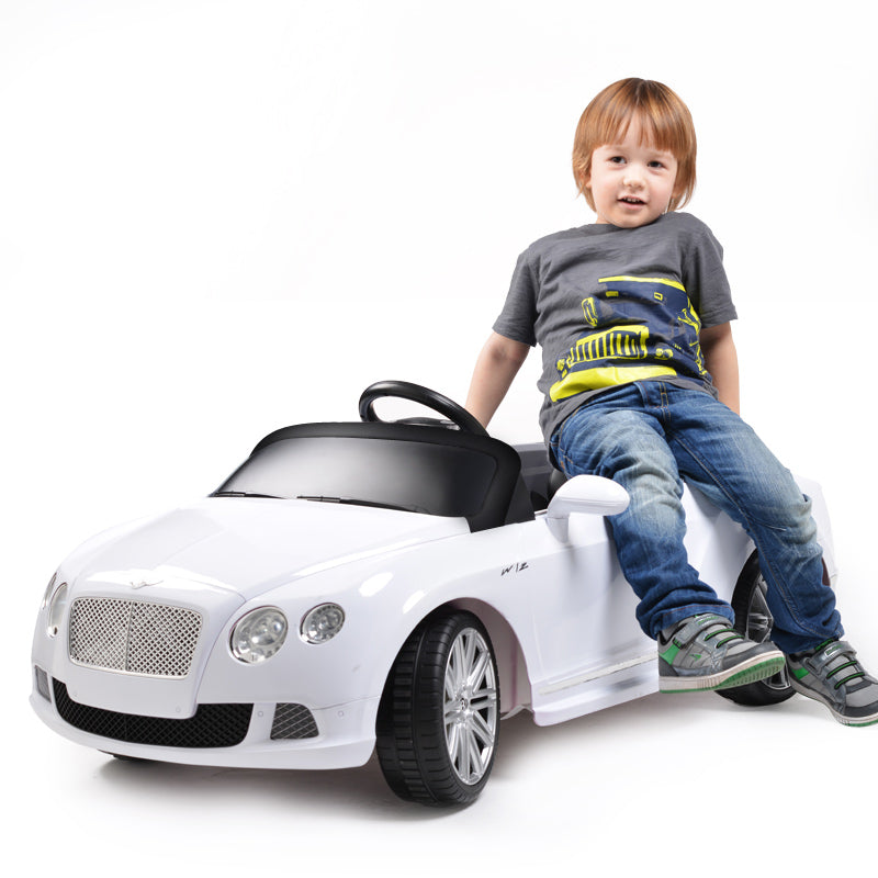 RS82100 BENTLEY WHITE Bentley GTC 12V Electric Ride On Car with Remote Control