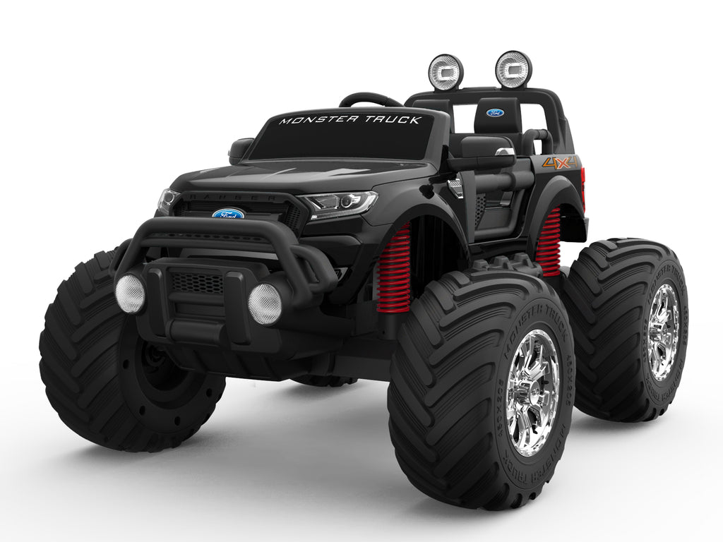 BLACK 12V 10A Ford Ranger Licenced Monster Truck 4 Motors Kids Electric Ride on Car with EVA Wheels (MT550 Premium Leather Seat Version)