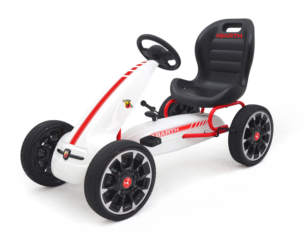 ABARTH Licensed Kids Go Kart with Foot Pedal EVA Wheels Brake Lever Clutch Gear 9388A (White)