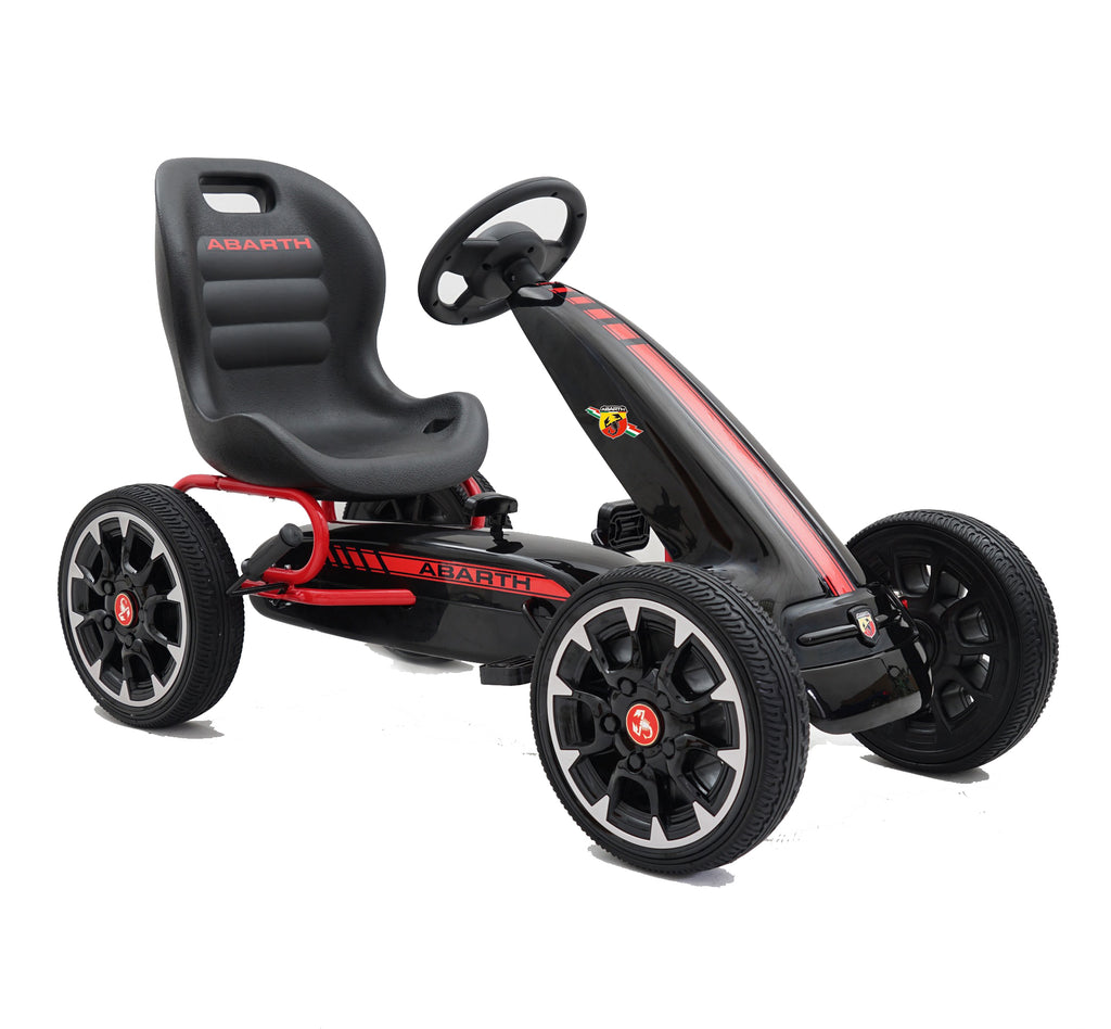 ABARTH Licensed Kids Go Kart with Foot Pedal EVA Wheels Brake Lever Clutch Gear 9388A (Black)