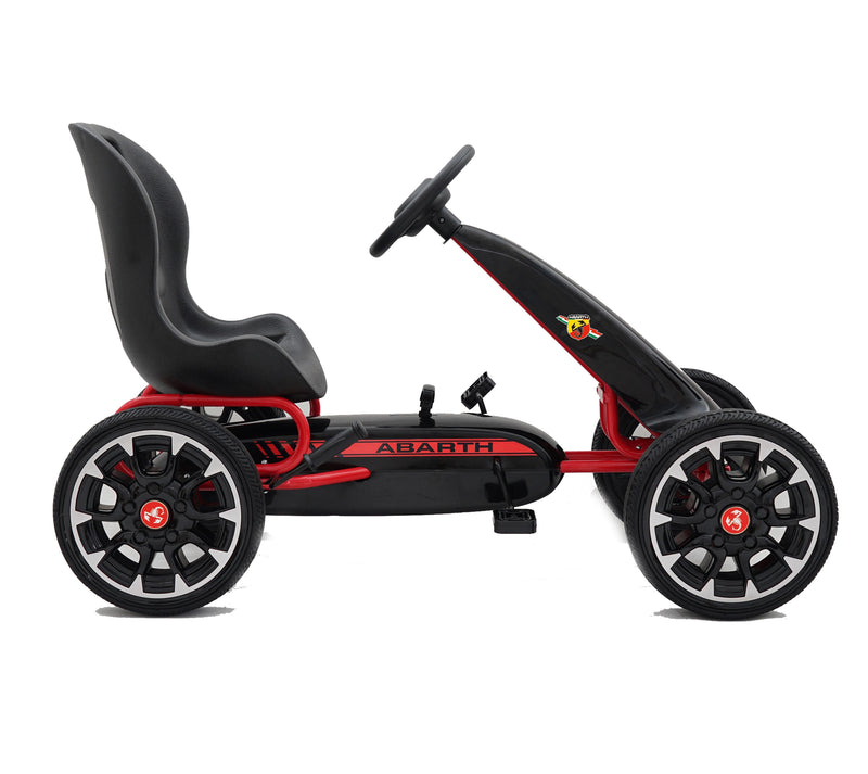 ABARTH Licensed Kids Go Kart with Foot Pedal EVA Wheels Brake Lever Clutch Gear 9388A (RED)