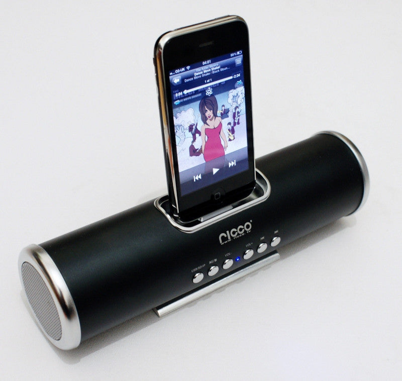 V8 Aluminium Portable 30-PIN iPod Nano Touch iPhone 3GS 4 4S Docking Speaker Charger