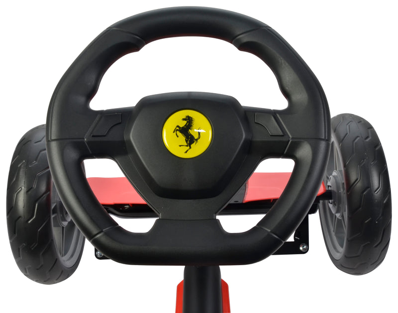 Ferrari Licensed Kids Go Kart with Foot Pedal EVA Wheels Brake Lever Clutch Gear C8931 (RED)