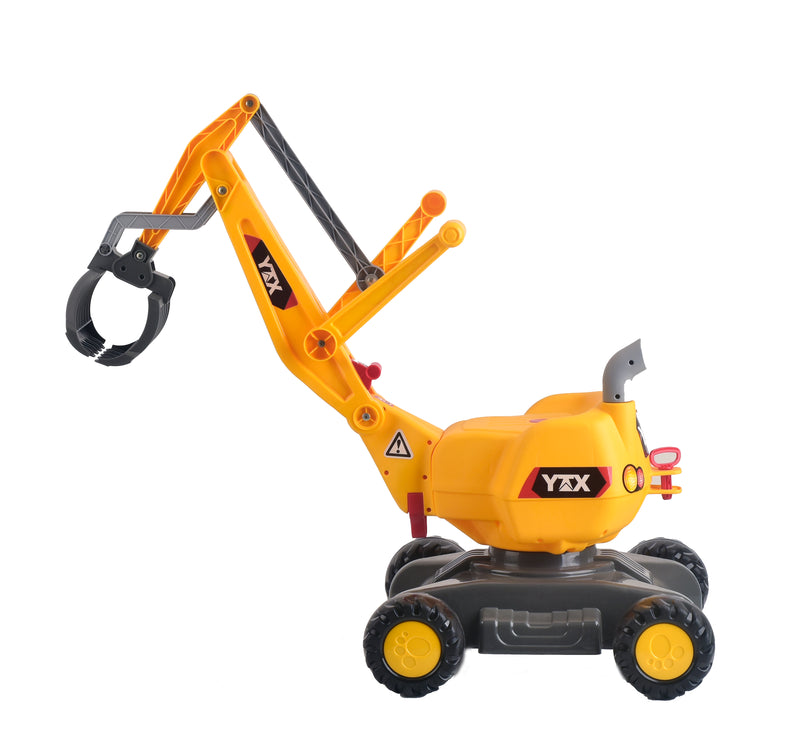 RICCO® 2 in 1 Ride On Toy Digger Excavator Grabber with Helmet YTX3306