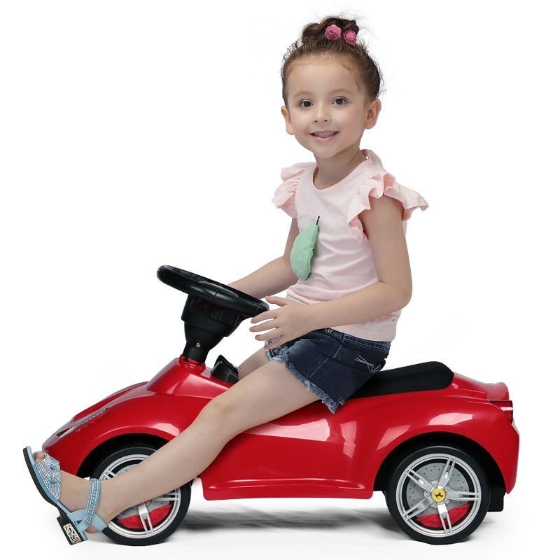 Ferrari 458 Red Kids Foot to Floor Push Along Ride On Sliding Toy Car Leather Seat