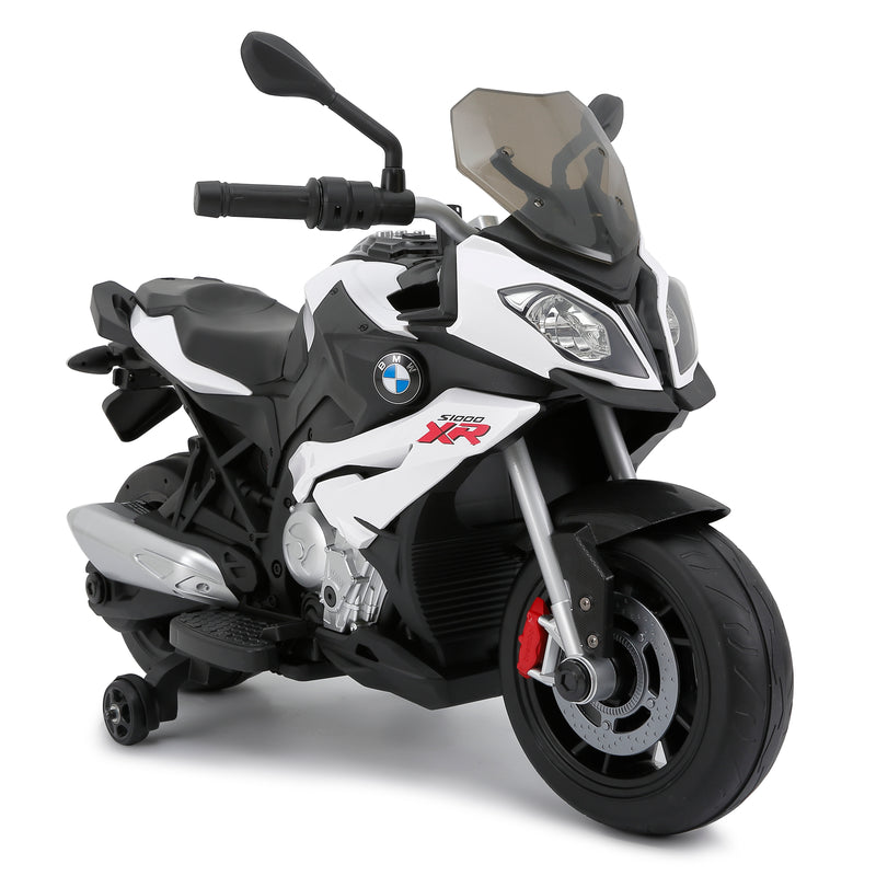 BMW S1000XR Licenced 12V 7A  Battery Powered Kids Electric Ride On Toy Motorcycle Road Bike (RS87700 WHITE)