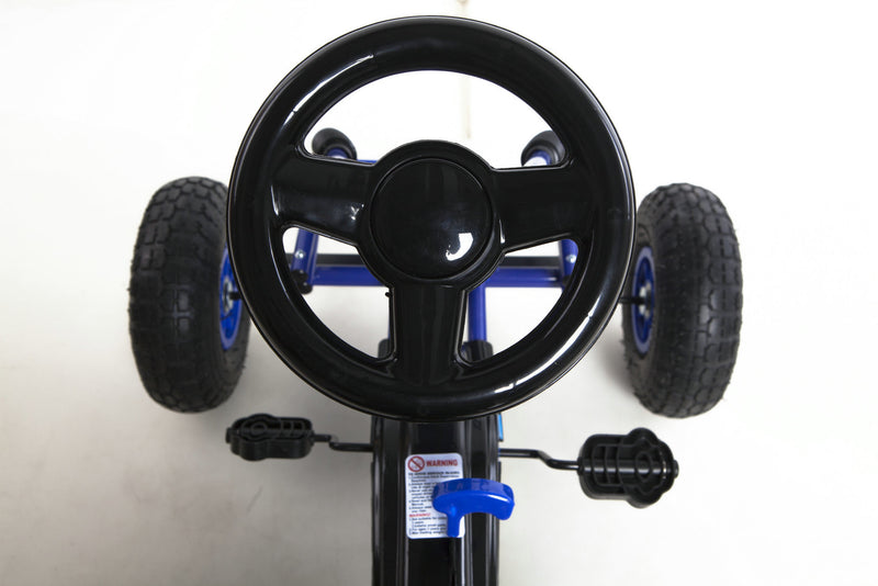Go Kart with Foot Pedal Rubber Air Wheels Gear Brake Lever (Model: 9588A) BLUE