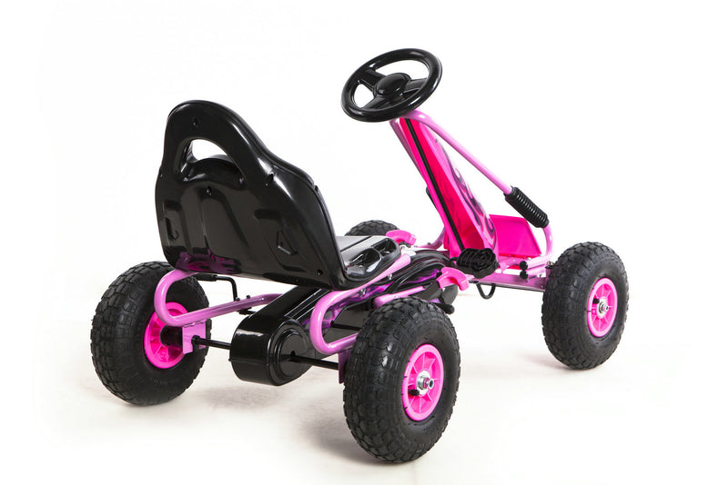 Go Kart with Foot Pedal Rubber Air Wheels Gear Brake Lever (Model: 9588A) PINK