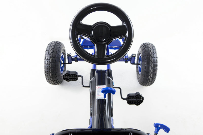 Go Kart with Foot Pedal Rubber Air Wheels Gear Brake Lever (Model: 9688A) BLUE