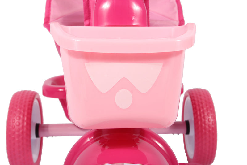 RICCO® Kids Cartoon Easy Steer Pedal Tricycle Buggy Stroller with Oxford Cloth (Model: XG9259) (Pink)