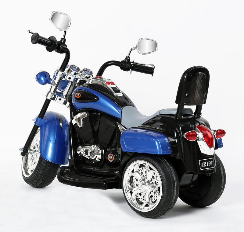 RICCO® Kids 3 Wheel Chopper 6V 4.5Ah Battery Powered Harley Style Electric Motor Trike (Model: TR1501 ) BLUE