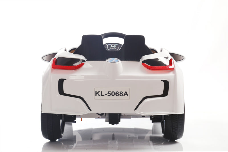 RICCO® Kids 2x6V 15W TWO MOTORS Battery Powered UNBRANDED BMW i8 Style Electric Ride On Toy Car (Model: KL1888) WHITE