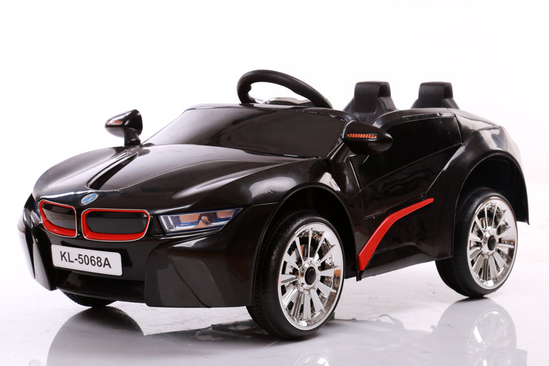 Kids 2x6V 15W TWO MOTORS Battery Powered UNBRANDED BMW i8 Style Electric Ride On Toy Car (Model: KL1888) BLACK
