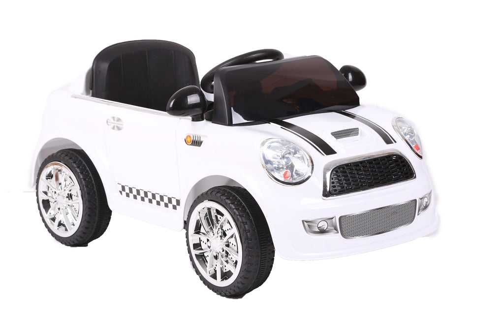 Kids Battery Powered Electric Ride On MINI Style Toy Car with Parental Remote Control (Model: S6088) (WHITE)