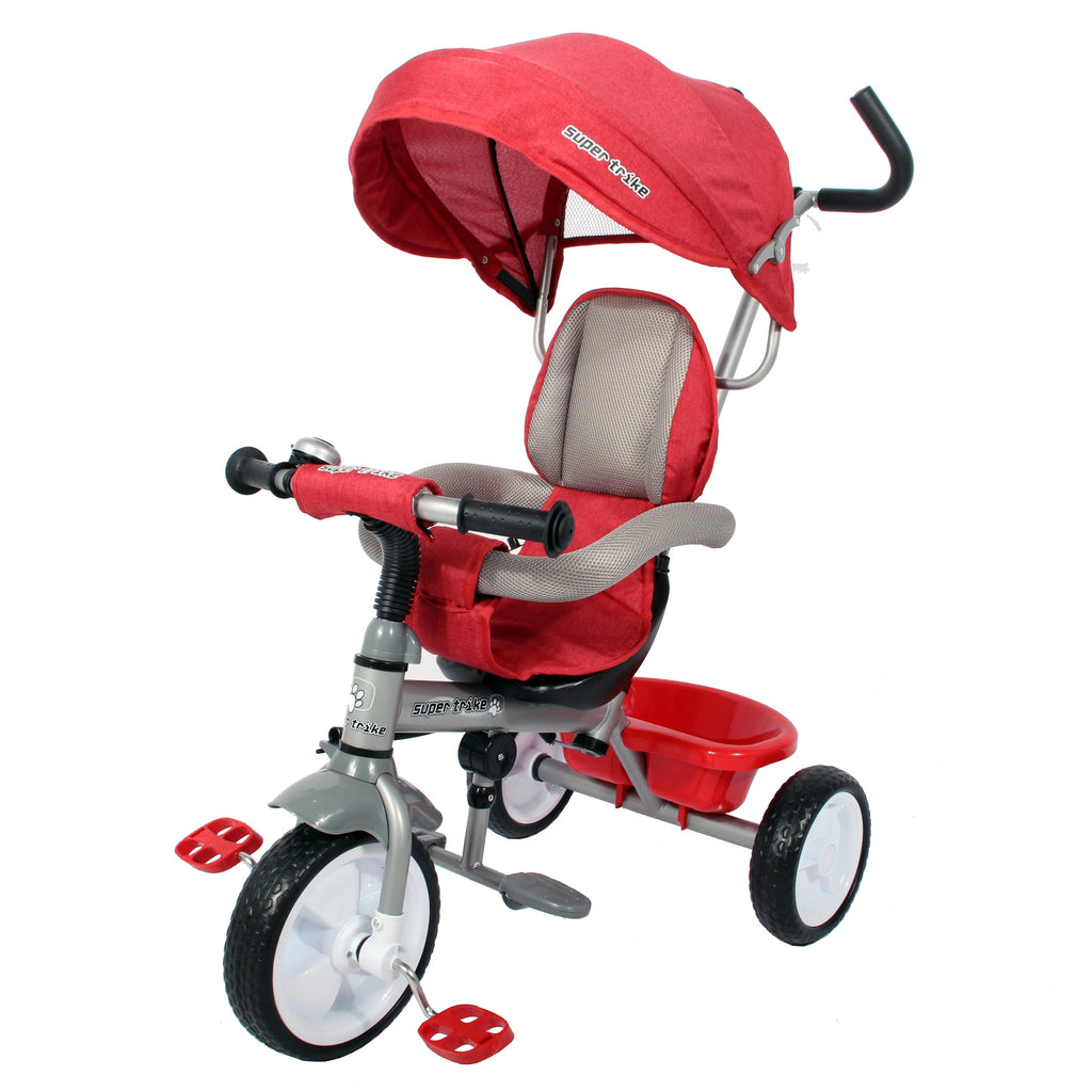 Kids Easy Steer Pedal Tricycle Buggy Stroller with Oxford Cloth (Model XG18859) - RED