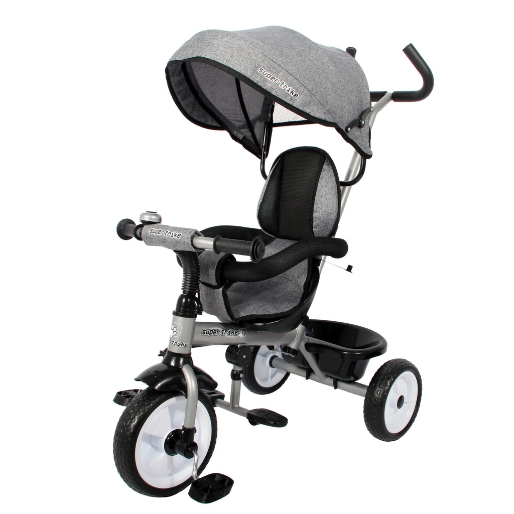 Kids Easy Steer Pedal Tricycle Buggy Stroller with Oxford Cloth (Model XG18859) - GREY