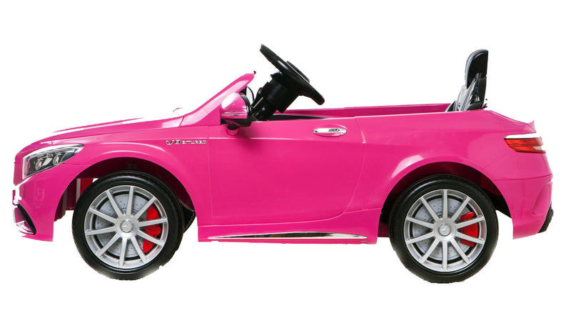6V 7Ah Battery Twin 15W Motors Powered Mercedes-Benz 63 AMG Licensed Twin Motor Electric Ride On Toy Car (Model: HL169) PINK