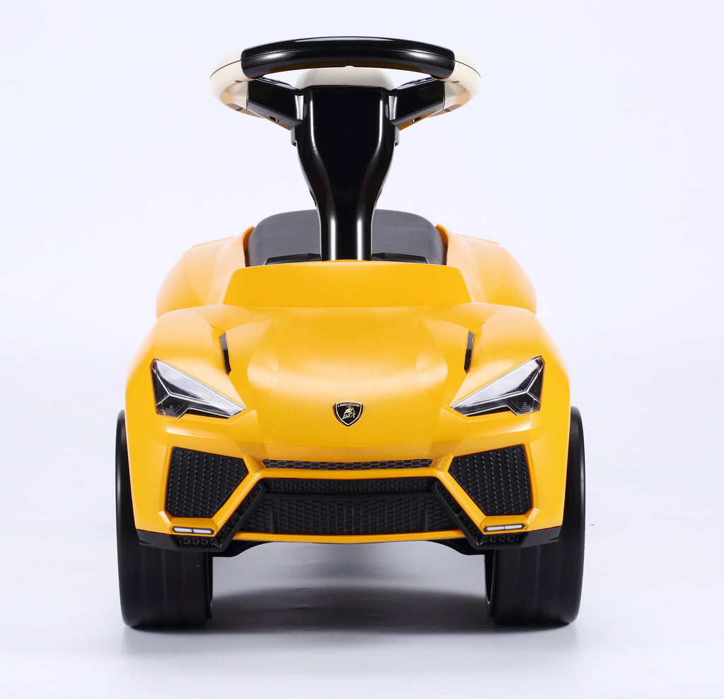Ricco RS83600 Lamborghini Yellow Kids Manual Ride On Foot Push Along Sliding Toy Car