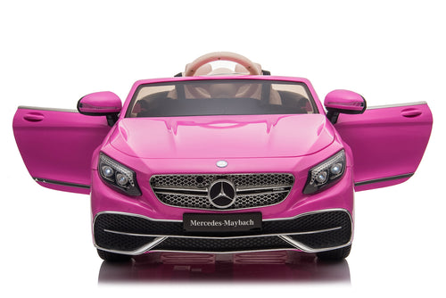 RICCO® Premium 12V 7A Mercedes Benz Maybach S650 Cabriolet Licensed Battery Powered Electric Ride On Toy Car EVA WHEELS + LEATHER SEATS (Pink)